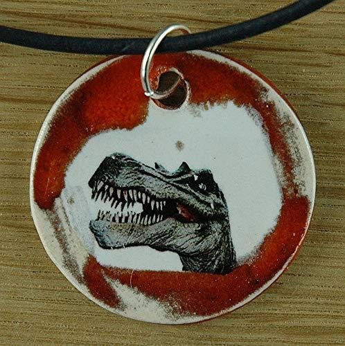 Echtes Kunsthandwerk: Schöner Keramik Anhänger mit einem TRex; T-Rex, Dino, Dinosaurier, Urzeit, Kreidezeit, Jura, Paläontologie
