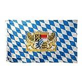 Bayern Fahne 60 x 90cm Fanflagge mit Ösen Flagge Blau-Weiß mit Wappen