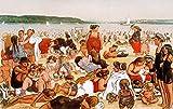 Kunstdruck/Poster: Heinrich Zille Berliner Strandleben - hochwertiger Druck, Bild, Kunstposter, 85x55 cm