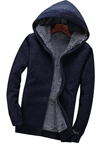 Fanhang Men's Hoodie Cardigan Knitwear With 2 Side Pocket And Fake Fur lining Marine