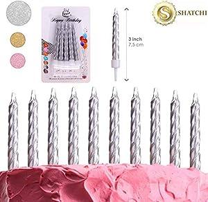 Gifts 4 All Occasions Limited SHATCHI-1113 SHATCHI-10pcs Velas para cumpleaños, boda, aniversario, fiesta, decoración de tarta, color plateado