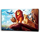 """Plush de cuadros de la impresión sobre lienzo, diseño de Disney """"EL REY León"""", Simba, negro/blanco, 20"""" x32"""""""