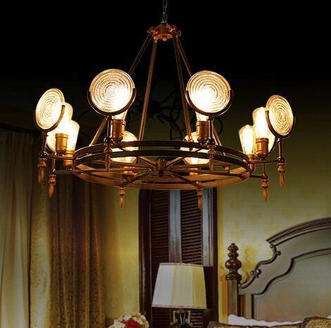 BBSLT Stile industriale Ciondolo lampada l'atmosfera di un Cafè decorazione soggiorno lampadario di ferro battuto lampade antiche rotondo in vetro 650/980*350/500mm , testa 8