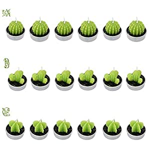 Anself 6pcs Cactus Candles Artificial Green Plants Candles for Birthday Wedding Home Decoration