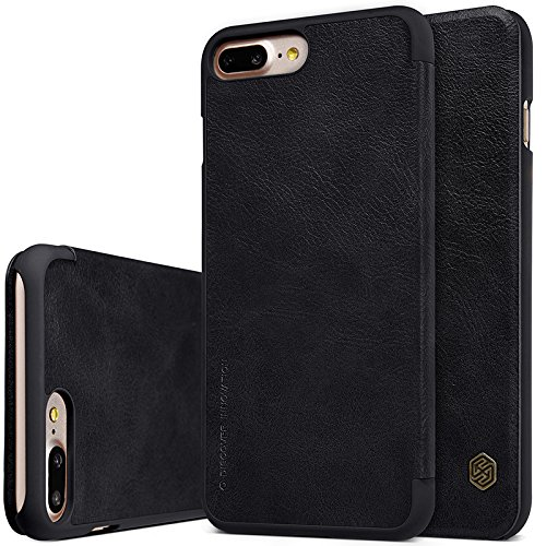 BCIT iPhone 8 Plus Cover - Alta Qualità Slim Custodia in pelle , Flip Cover Leather Case Per iPhone 8 Plus - Nero Nero