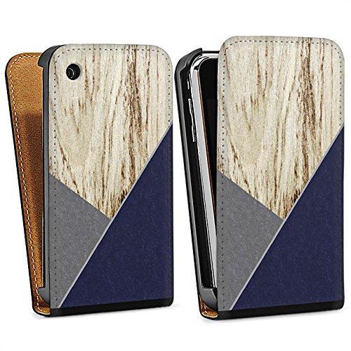 Apple iPhone 4 Housse Étui Silicone Coque Protection Bois Moderne Tendance Sac Downflip noir