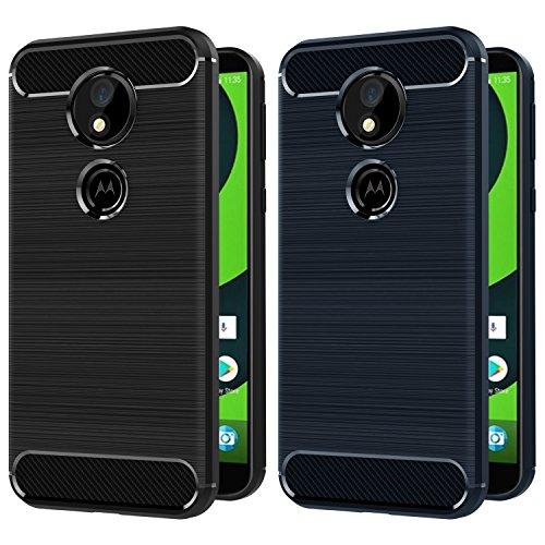iVoler [2 Stücke] Hülle Kompatibel für Motorola Moto G6 Play/Motorola Moto E5, Carbon Faser Case Tasche Schutzhülle mit Stoßdämpfung Soft Flex TPU Silikon Handyhülle - (Schwarz+Blau)
