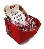 Charming Boxes Kleiner Geschenkkorb Brot backen rot - Einweihung, Einzug, Umzug, Nachbar, Nachbarschaft, Geschenk, Mitbringsel, Präsent, Biobrot, Brotkorb, Bio-Backmischung, Backform, rot