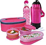 Oliveware Double Story Lunch Bag Combo Plus 3 Containers Lunch box with Bottle & Cover (Pink)