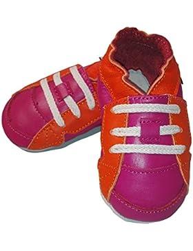 Lederhausschuhe 18 (0-6 Month), Krabbelschuhe, Lederpuschen, Hausschuhe, Kinder, sport pink yellow