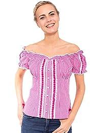Krüger Damen Trachtenbluse Carmen Heart Blau Oder Pink Schulterfrei b62f089b7e