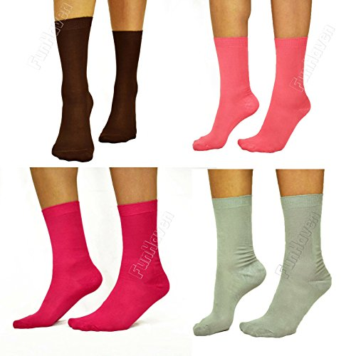 Ladies Bamboo Socks Women | Anti Bacterial Gentle Soft Elastic Top Grip Diabetic Non cotton | For Walking Work Summer or Winter Everyday Use | Pack of 3 6 9 12 Pairs Size 4-7