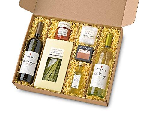 Italienischer Präsent Geschenk-Korb / Gourmet Spezialitäten Delikatessen Set mit Weißwein, Rotwein, Tagliatelle, Oliven-Öl, Sauce und Meer-Salz (Geschenk-korb Mit Wein)