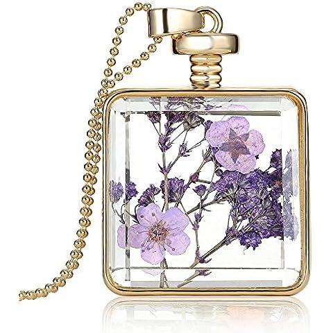 Anself Colgante de color de oro de moda en forma cuadrada romántica transparente de cristal flotante de flores secas de la planta de locket de muestras de mujeres niñas