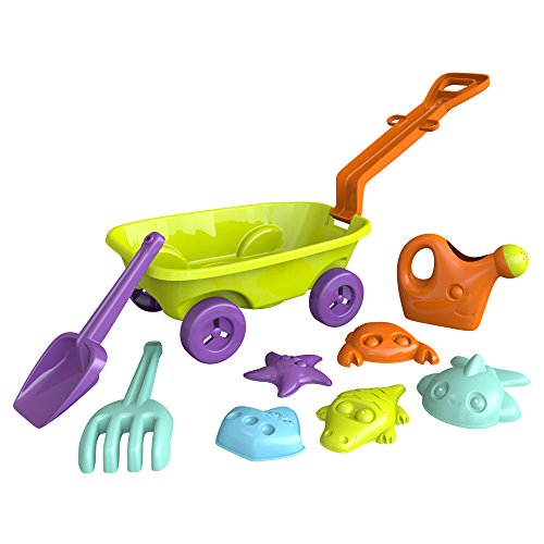 ColorBaby - Set de playa: carretilla 40 cm, pala, rastrillo, regadera y 5 moldes (43506)