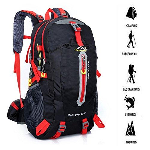 40 Liter Outdoor Trekkingrucksäcke, YUMOMO Herren und Damen Wasserdichter Wanderrucksäcke Camping Rucksäcke Sport für Die Reise Bergsteigen schwarz