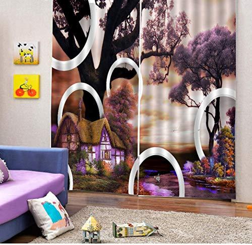 LLPZ Vorhang 3D Visuelle Hausdruck Balance Raumtemperatur Schlafzimmer Wohnzimmer Ohne Pfosten