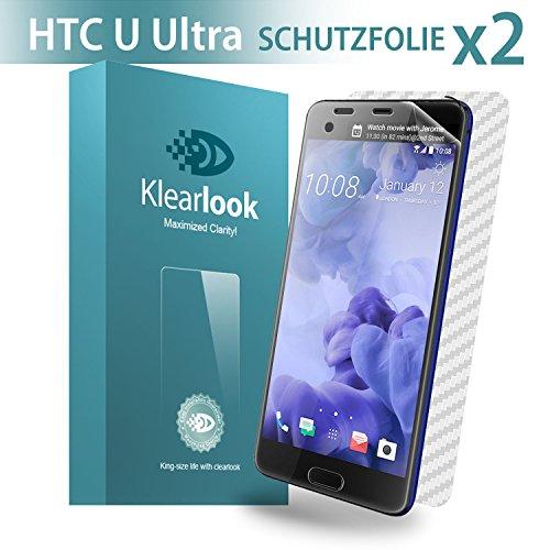Klearlook HTC U Ultra Schutzfolie,2x Stück TPU Display Folie,Vollständige Abdeckung,Stoßfest,100prozent HD,1x Kohlefaser Rückseit Schutzfolie,Blasenfrei