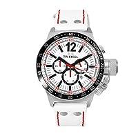 TW Steel CEO TWCE1013 - Reloj unisex de cuarzo, correa de piel color blanco (con cronómetro) de TW-Steel