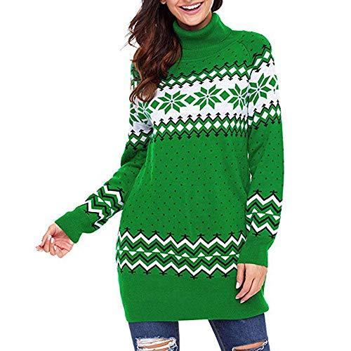 Luckycat Weihnachtsstrickjacke Frauen hässliche Schneeflocke fröhliches Weihnachtsminikleid Partykleider Cocktailkleid Blusenkleid Kleider