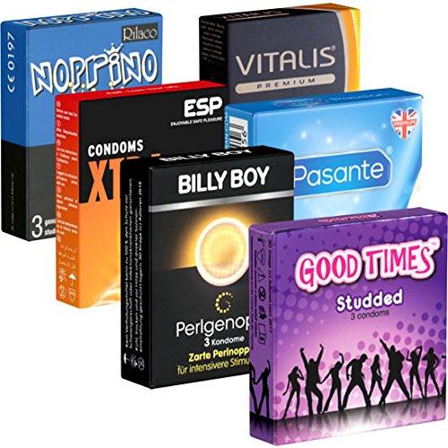 Der Kondomotheke® Peaks and Valleys Mix Nr. 1 (ESP, Billy Boy, Pasante, Ramses, Rilaco, Vitalis) - Probierset!