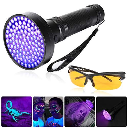 UV Taschenlampe, GreenSun LED Lighting Schwarzlicht Ultraviolet Lampe 100 LEDs 395nm mit UV-Schutzbrille Haustiere Urin-Detektor für Hunde, Katzen, Nagetiere auf Teppichen, Vorhänge, Gardinen, Möbel