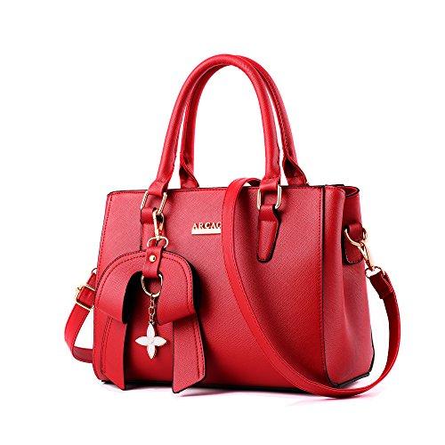che Heiße Elegante Tasche-Leder Schultertasche Handtaschen Umhängetasche Mit Bogen Anhänger(Rot) (Rote Handtasche)