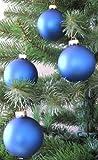 Weihnachtskugel Christbaumkugeln 4 Stück 8 cm matt blau Glaskugel