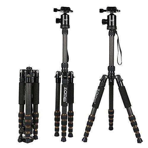 """Zomei 669c Kohlefaser Kugelkopf KameraStativ, Reise Stativ, Leichtes Dreibeinstativ 1/4"""" Schnellwechselplatte und Einbeinsativ für Canon Nikon Sony kameras"""