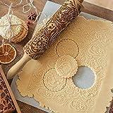 Zreal Rouleau à pâtisserie en Bois hêtre gaufrage Rouleau à Biscuits pâte à gâteau Rouleau à pâtisserie de Noël Outil à pâtis