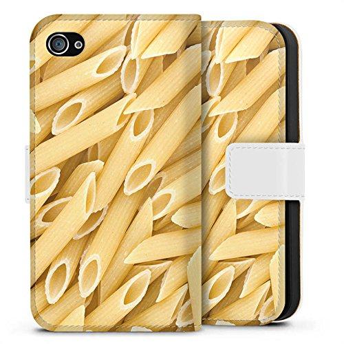 Apple iPhone X Silikon Hülle Case Schutzhülle Nudeln Penne Food Sideflip Tasche weiß