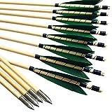 MEJOSER Holzpfeile Echte 4' Naturfedern 32 Zoll Pfeile für Bogen Selfnock mit Wickung Bogenpfeile für bis 55 lbs traditionalen Bogen Bogenschießen(grün)