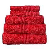 Catherine Lansfield Home 100% Baumwolle 4-teiliges Gästetuch-Set, Kirsche Rot