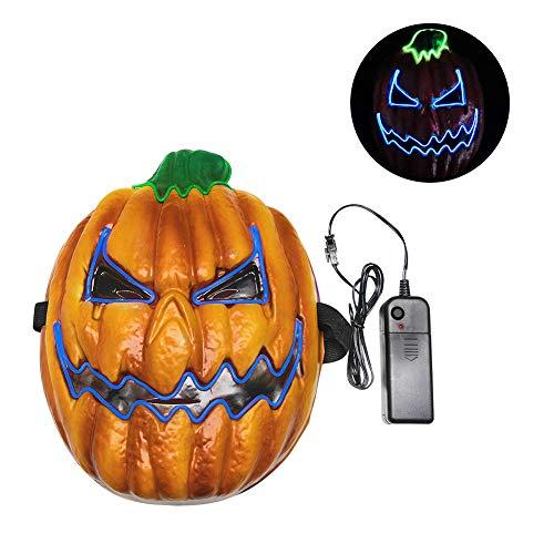 SDGDFXCHN Halloween Maske LED Glow Scary Pumpkin Head Leuchten Masken Cosplay Kostüm Für Festival Parties (Pumpkin Scary Kostüm Halloween)