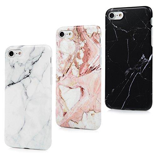 iPhone 7 Marmor TPU Case [3 Packs] Cover Ultraslim Handyhülle Schutzhülle Silikon Bumper Schutz Tasche Matt Marble Schale Antikratz Backcover mit IMD Technologie in Schwarz (Marmor-sets)