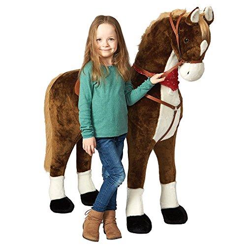 Pink Papaya Giant Riesen XXL Kinderpferd, Max, 125 cm Plüsch-Pferd zum reiten, Fast lebensgroßes Spielzeug Pferd zum Drauf sitzen, bis 100kg belastbar, mit Verschiedenen Sounds, inkl. Kleiner Bürste -