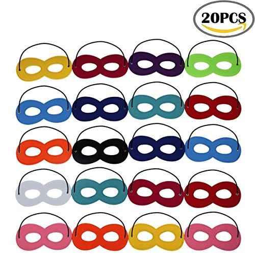 Qqi maschere superiori di superhero mascherine superiori di mascherine di halloween mascherine dell'occhio del partito di cosplay dell'eroe dell'eroe hanno ritenuto le mascherine con la corda elastica per i bambini partito, multicolore, 20 pc