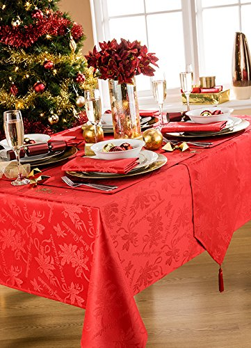 Gama de manteles de Navidad con guirnaldas, 100% poliéster/poliéster, Rojo, 70x90in-178x228cm Tablecloth Approx