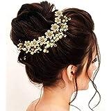 Hair Flare Women's 1687 Hair Pins Artificial Flowers Accessories (Pearl)