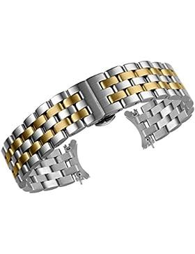 22mm raffiniertes Metall Link Uhrenarmband Armband Dual Ton Silber und Gold solide Edelstahl Ersatz mit gebogenen...