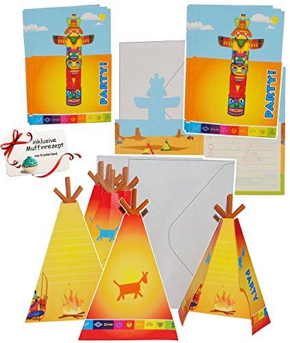 """Preisvergleich Produktbild 48 tlg. Set _ Einladungskarten - incl. Umschlag - """" Indianer Zelt / Totem """" - für Mädchen & Jungen - Einladung / Karte - Kindergeburtstag - Party - Fest Deko - Dekoration - Einladungen - Indianerparty / Indianerfest - Western"""