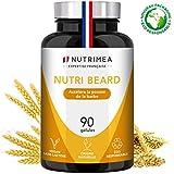NUTRI BEARD - 1er Accélérateur de Pousse de Barbe Français par Nutrimea - Formule 100% Naturelle spéciale Homme - Agit et Stimule en profondeur les poils de barbe - 90 gélules