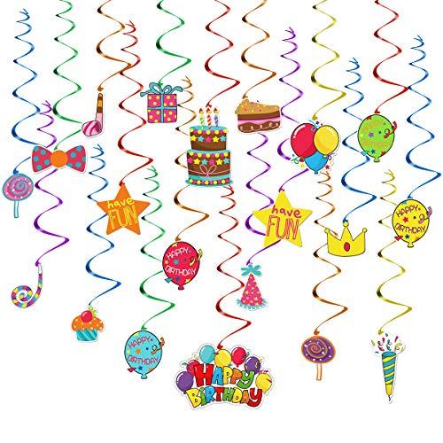 YEAHIBABY Hängender Strudel, Alles Gute zum Geburtstagsfeier-Wirker-Ausläufer für Kindergeburtstags-Party-Dekorationen, 30PCS
