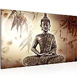 Bilder Buddha Wandbild Vlies - Leinwand Bild XXL Format Wandbilder Wohnzimmer Wohnung Deko Kunstdrucke 70 x 40 cm Gelb 1 Teilig -100% MADE IN GERMANY - Fertig zum Aufhängen 500314a