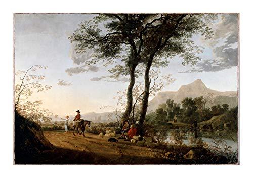 Spiffing Prints Cuyp Aelbert - A Road Near A River - Large - Matte - Framed River Road Matte