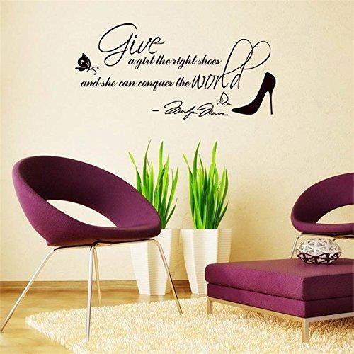 Weaeo Fashion Black Beauty Salon Butterful Schuhe Wall Sticker Für Wohnzimmer Home Decor Vinyl Diy Zitieren Tapetensticker Friseur Zeigt (Fashion Halloween Zeigt Fenster)