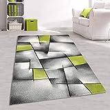 Moderner Jugendteppich Karo Abstrakt Grau Grün Größe 160 x 230 cm