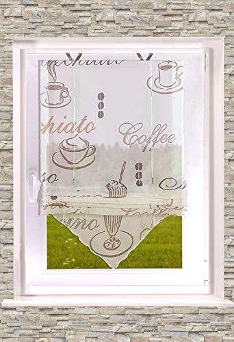 Bedrucktes Raffrollo Kaffee transparent Creme 45-60-80 x 140cm (B x H) inkl. Easyfix Fensterhakenset