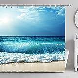 FamyFirst Tenda da Doccia Impermeabile Antimuffa Spessa Stampa ad Alta Definizione 180x180cm Spiaggia Marea Picco Mare Oceano