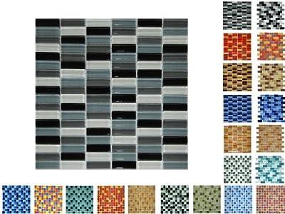 1 Netz Glasmosaik Sticksize Glanz WGSmix von Mosaikdiscount24 bei TapetenShop
